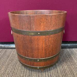 Edwardian Brass Bound Log Barrel by R.A Lister