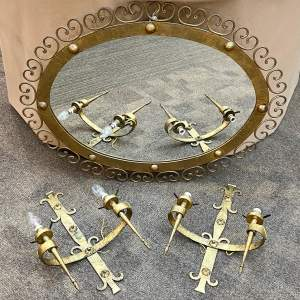 Spanish Gilt Metal Wall Mirror with Wall Lamps