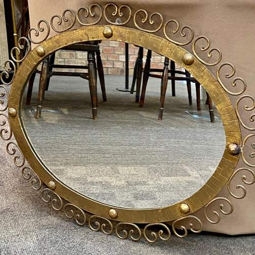 Spanish Gilt Metal Wall Mirror with Wall Lamps image-4