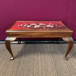 Glass Top Coffee Table with Needlework Top