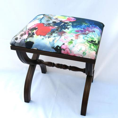 Mahogany X Frame Stool Upholstered in Timourous Beasties fabric image-2