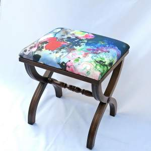 Mahogany X Frame Stool Upholstered in Timourous Beasties fabric