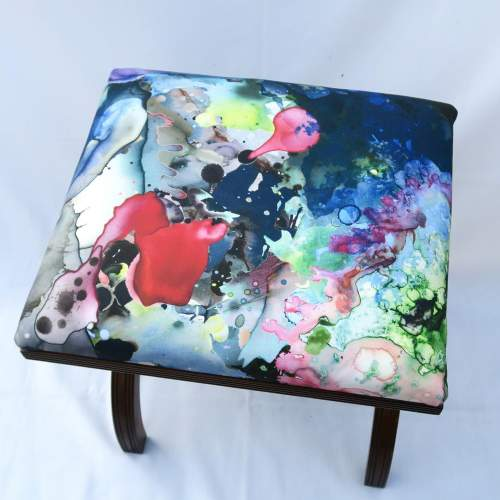Mahogany X Frame Stool Upholstered in Timourous Beasties fabric image-3