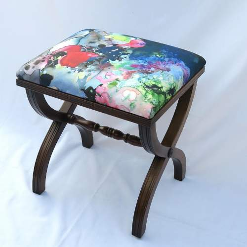 Mahogany X Frame Stool Upholstered in Timourous Beasties fabric image-4