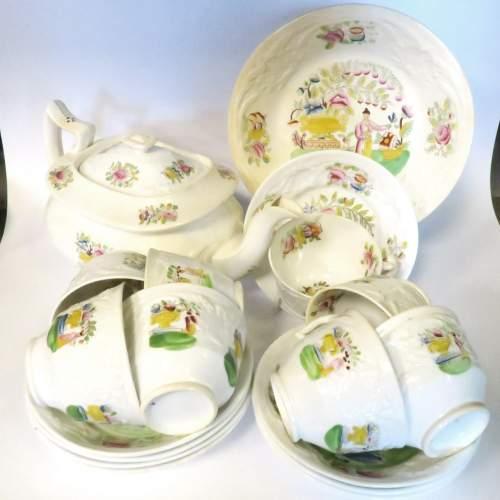 Victorian Staffordshire Creamware Part Tea Set 18 Pieces image-1