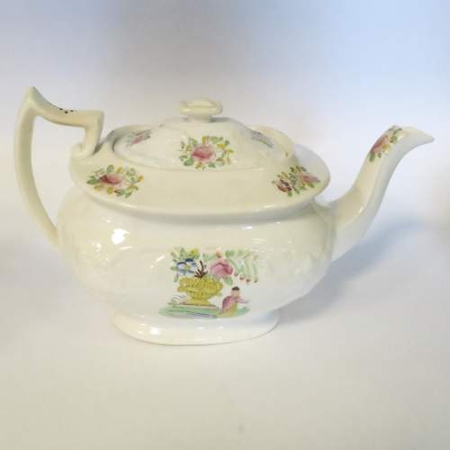 Victorian Staffordshire Creamware Part Tea Set 18 Pieces image-2