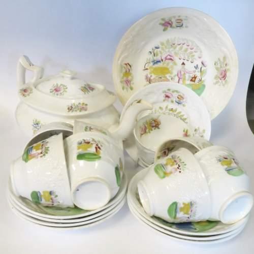 Victorian Staffordshire Creamware Part Tea Set 18 Pieces image-4