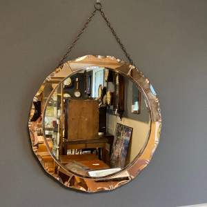 Art Deco Peach Glass Wall Mirror