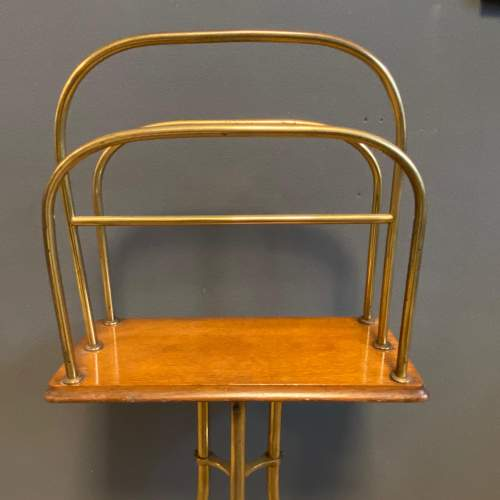 Vintage Tall Brass Magazine Stand image-2