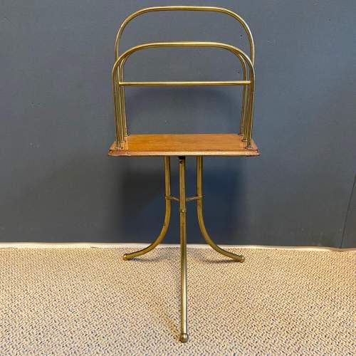 Vintage Tall Brass Magazine Stand image-1