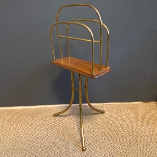Vintage Tall Brass Magazine Stand image-5