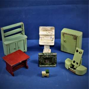 Collection of Vintage Scratch Built Dolls House Furniture