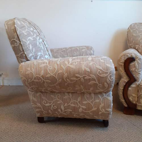 Pair of Art Deco Upholstered Club Chairs image-3