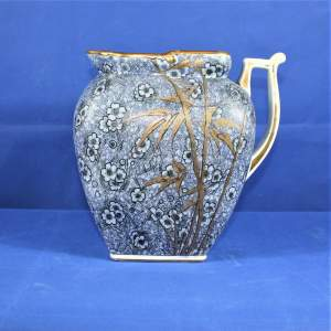 Large Blue Royal Doulton Jug with Bamboo Decoration