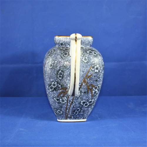 Large Blue Royal Doulton Jug with Bamboo Decoration image-4