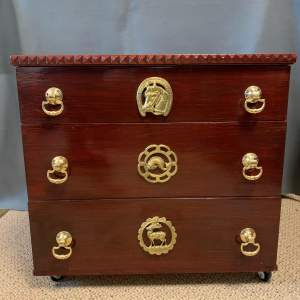 Small Three Drawer Chest with Horse Brasses