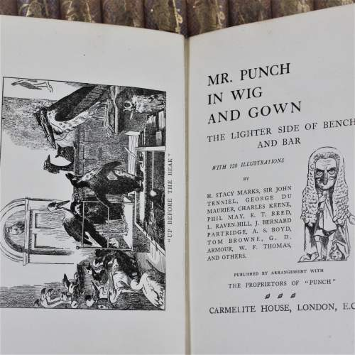 Punch Library of Humour - 24 Editions on Oak Book Rack image-5