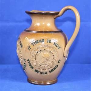 Late 19th Century Doulton Lambeth Stoneware Motto Jug for Ale