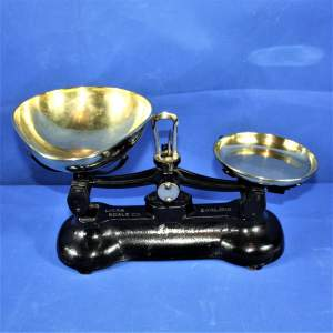 Vintage Libra Set of Cast Iron Scales with Brass Pans