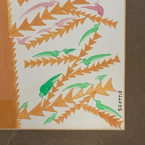 20th Century Scottie Wilson Mixed Media Painting Birds on a Tree image-2