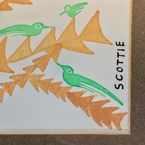 20th Century Scottie Wilson Mixed Media Painting Birds on a Tree image-4