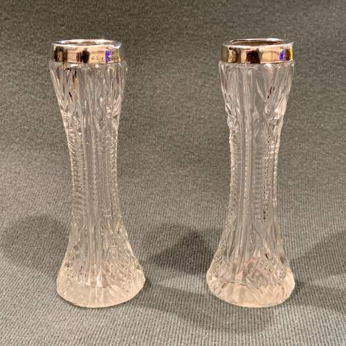 Pair of Early 20th Century Silver Top and Crystal Bud Vases image-1