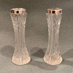 Pair of Early 20th Century Silver Top and Crystal Bud Vases