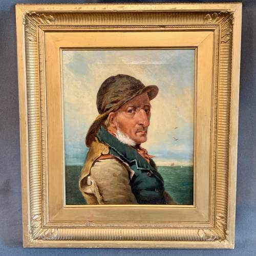 W.Bell 19th Century Oil on Canvas Portrait of a Fisherman image-1
