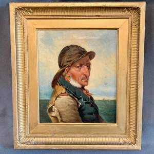 W.Bell 19th Century Oil on Canvas Portrait of a Fisherman