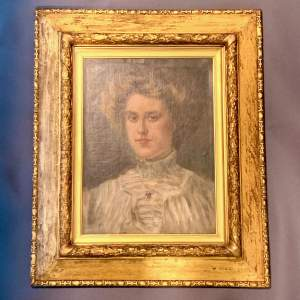 Late 19th Century Oil on Canvas Portrait of a Lady