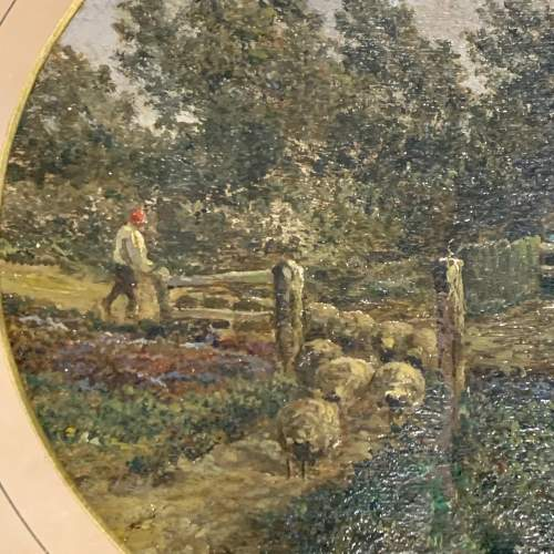 19th Century English School Oil on Canvas Letting out the Flock image-3