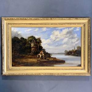 Mid 19th Century Dutch School Oil on Board Waiting for the Ferry