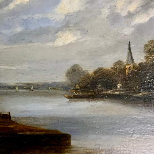 Mid 19th Century Dutch School Oil on Board Waiting for the Ferry image-3