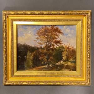 Late 19th Century English School Oil on Board Woodland Landscape