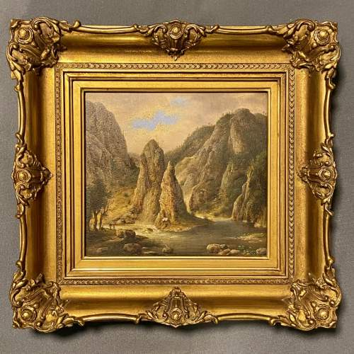 Mid 19th Century American School Oil on Board River Landscape image-1