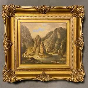 Mid 19th Century American School Oil on Board River Landscape