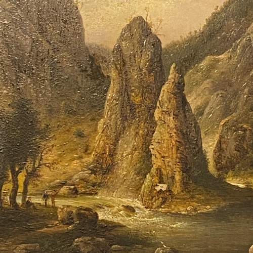 Mid 19th Century American School Oil on Board River Landscape image-2