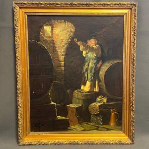 20th Century Oil on Canvas Painting of Wine Checker