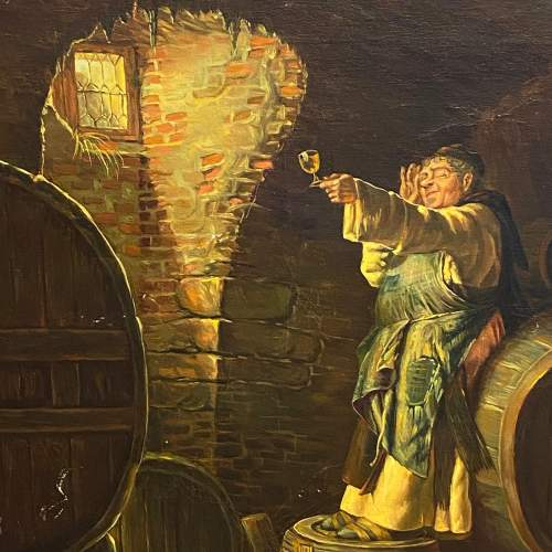 20th Century Oil on Canvas Painting of Wine Checker image-2