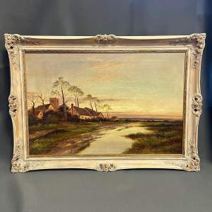 19th Century Oil on Canvas Painting of a Village by a River