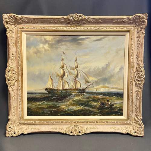 Maritime Scene Oil on Canvas Painting of Man of War image-1