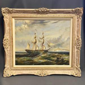 Maritime Scene Oil on Canvas Painting of Man of War