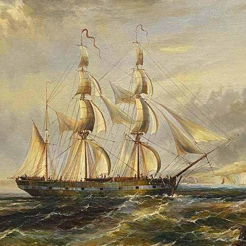Maritime Scene Oil on Canvas Painting of Man of War image-2