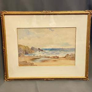 Coastal View Watercolour Painting By Frederick W Waugh