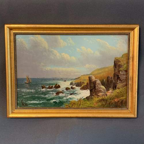 Original Oil on Canvas Painting of the Manacle Rocks Cornwall image-1