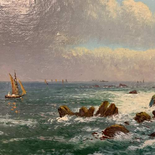 Original Oil on Canvas Painting of the Manacle Rocks Cornwall image-2