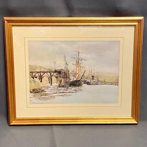 19th Century J.Greenway Harbour Scene Watercolour image-1