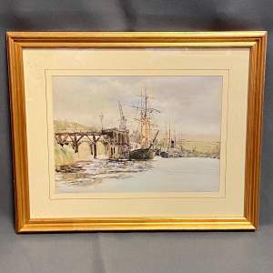 19th Century J.Greenway Harbour Scene Watercolour