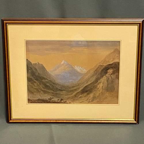 20th Century Watercolour Mountain Scene image-1
