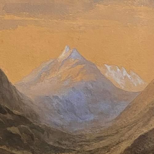 20th Century Watercolour Mountain Scene image-2